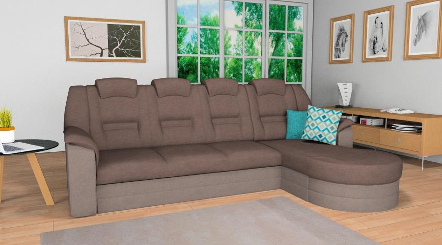 elegant L alakú kanapé barna színkombinációval