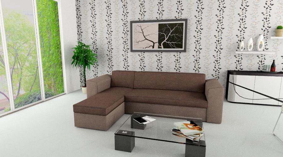genovese kanapé L alakban, barna színben