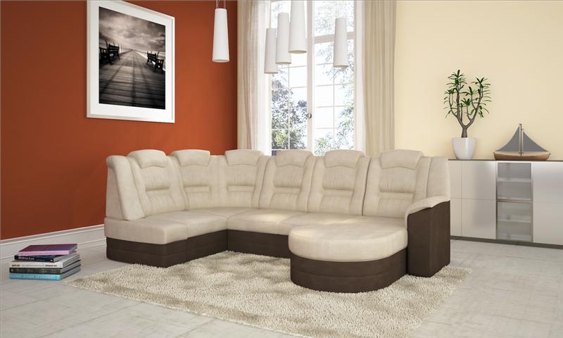 Ágyazható kanapé, barna - bézs