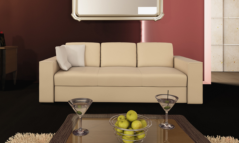 Három személyes bézs lms kanapé